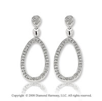 14k White Gold Multiple Diamond Drop Earrings