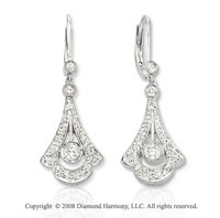 14k White Gold Bell Shaped Diamond Drop Earrings