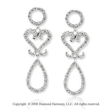 14k White Gold Three Layered Diamond Drop Earrings