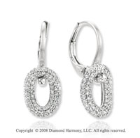14k White Gold Circle Diamond Drop Earrings