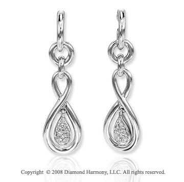 14k White Gold Perfe Carat Diamond Drop Earrings