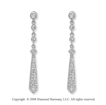 14k White Gold Tie Shaped Diamond Drop Earrings