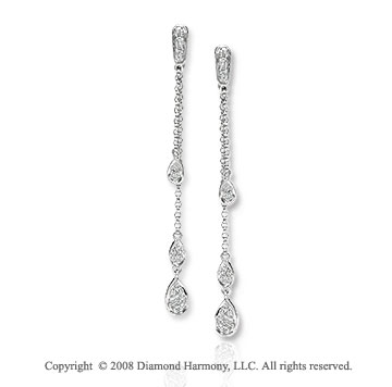 14k White Gold Tear Shaped Diamond Drop Earrings