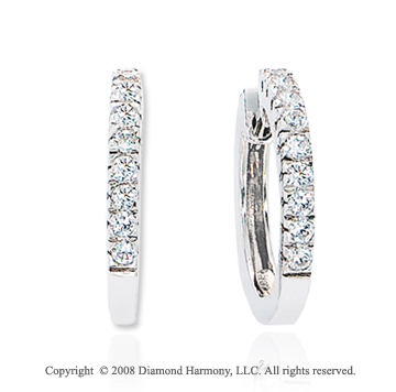 14k White Gold Elegant 1/3 Carat Diamond Huggie Earrings
