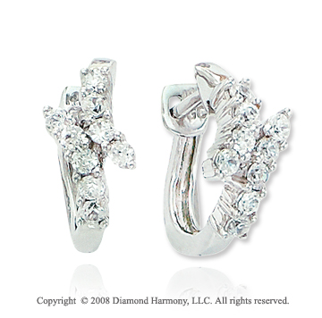 14k White Gold 1/3 Carat Diamond Huggie Earrings