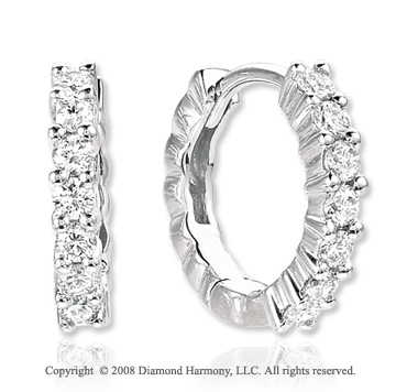 14k White Gold Elegant 1/2 Carat Diamond Huggie Earrings