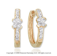 14k Yellow Gold 0.20 Carat Diamond Flower Huggie Earrings