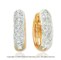 14k Yellow Gold .20cwt Stylish Diamond Huggie Earrings
