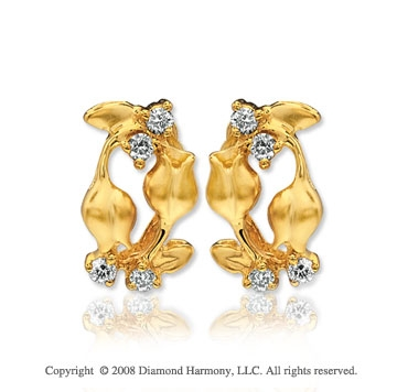 14k Yellow Gold Rose Bud Diamond Earrings