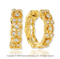 14k Yellow Gold Stunning 3/4 Carat Diamond Huggie Earrings