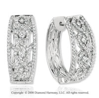 14k White Gold 1 1/3 Carat Diamond Huggie Earrings