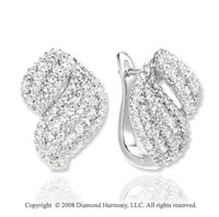 14k White Gold 1 1/4 Carat Diamond Huggie Earrings