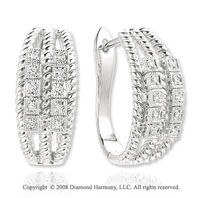 14k White Gold Diamond Rope Huggie Earrings