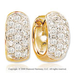 14k Yellow Gold 1/2 Carat  Stylish Diamond Huggie Earrings