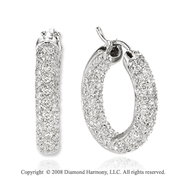 1.20 Carat 14k White Gold Inside Out Diamond Huggie Earrings