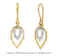 14k Yellow Gold 1/4 Carat Diamond Feather Fashion Earrings