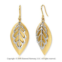 14k Two Tone Gold Diamond Feather Fashion Earrings
