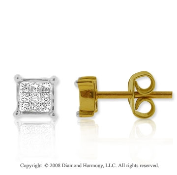 14k Yellow Gold 1/4 Carat Diamond Princess Stud Earrings