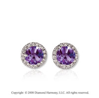 14k White Gold Round 1/2 Carat Amethyst Diamond Stud Earrings