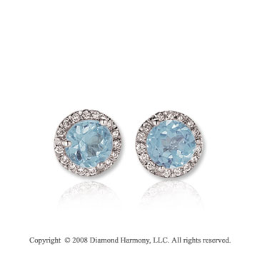 14k White Gold 1/2 Carat Aquamarine Diamond Stud Earrings