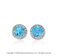 14k White Gold 1/2 Carat Blue Topaz Diamond Stud Earrings