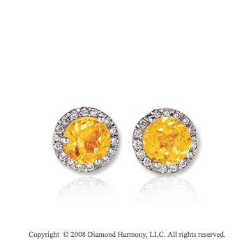 14k White Gold Round 1/2 Carat Citrine Diamond Stud Earrings