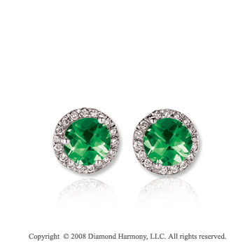 14k White Gold Round 1/2 Carat Emerald Diamond Stud Earrings
