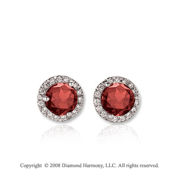 14k White Gold Round 1/2 Carat Garnet Diamond Stud Earrings