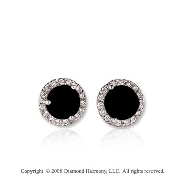 14k White Gold Round 1/2 Carat Onyx Diamond Stud Earrings