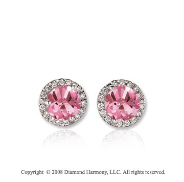14k White Gold 1/2 Carat Pink Sapphire Diamond Stud Earrings