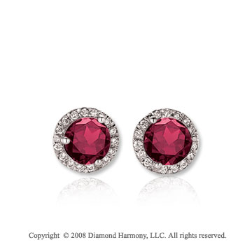 14k White Gold Round 1/2 Carat Ruby Diamond Stud Earrings