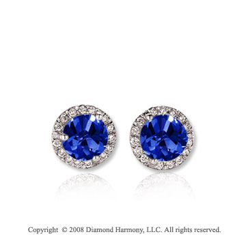 14k White Gold 1/2 Carat Blue Sapphire Diamond Stud Earrings