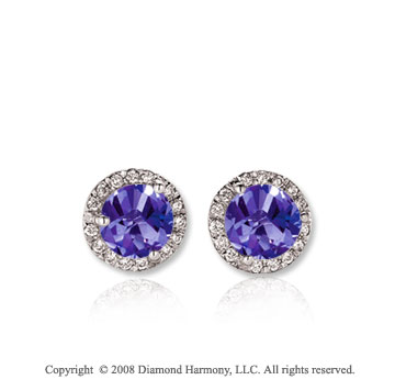 14k White Gold Round 1/2 Carat Tanzanite Diamond Stud Earrings