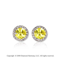 14k White Gold 1/2 Carat Yellow Sapphire Diamond Stud Earrings
