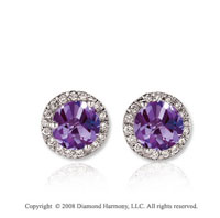 14k White Gold Round 1 Carat Amethyst Diamond Stud Earrings
