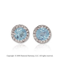 14k White Gold Round 1 Carat Aquamarine Diamond Stud Earrings