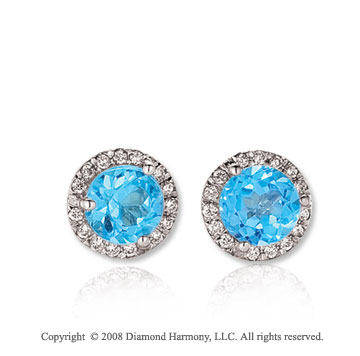 14k White Gold Round 1 Carat Blue Topaz Diamond Stud Earrings