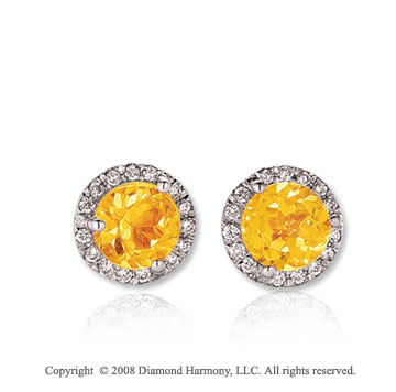 14k White Gold Round 1 Carat Citrine Diamond Stud Earrings