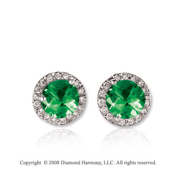 14k White Gold Round 1 Carat Emerald Diamond Stud Earrings