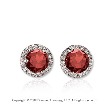 14k White Gold Round 1 Carat Garnet Diamond Stud Earrings