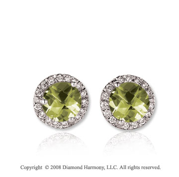 14k White Gold 1 Carat Green Amethyst Diamond Stud Earrings