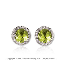 14k White Gold Round 1 Carat Lime Quartz Diamond Stud Earrings