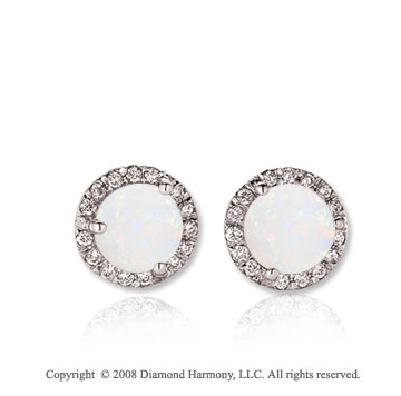 14k White Gold Round 1 Carat Opal Diamond Stud Earrings