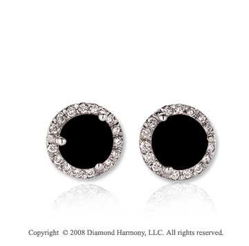14k White Gold Round 1 Carat Onyx Diamond Stud Earrings