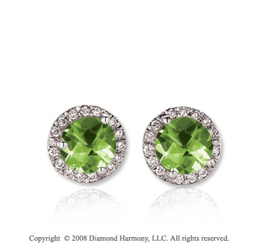 14k White Gold Round 1 Carat Peridot Diamond Stud Earrings