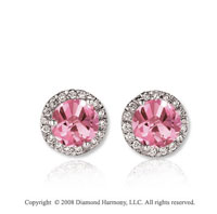 14k White Gold 1 Carat Pink Sapphire Diamond Stud Earrings