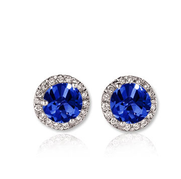 14k White Gold 1 Carat Blue Sapphire Diamond Stud Earrings
