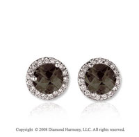 14k White Gold 1 Carat Smokey Quartz Diamond Stud Earrings