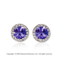 14k White Gold Round 1 Carat Tanzanite Diamond Stud Earrings