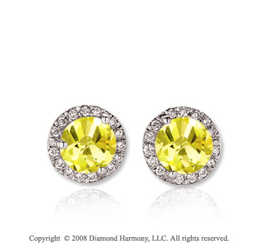 14k White Gold 1 Carat Yellow Sapphire Diamond Stud Earrings